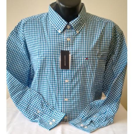 Camisa Tommy hombre cuadros azul talla XXXL