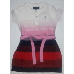 Vestido Tommy niña rosado blanco azul